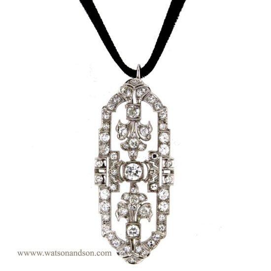 Art Deco Platinum Pendant - Brooch 1