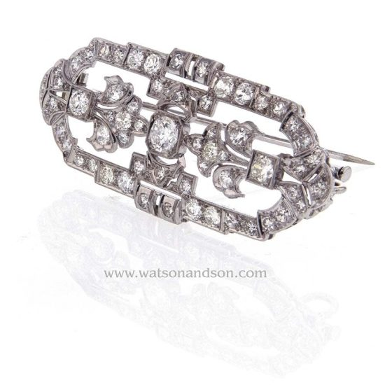 Art Deco Platinum Pendant - Brooch 4