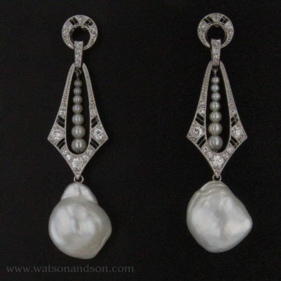 Platinum Diamond And Baroque South Sea Pearl Drop Earrings 1
