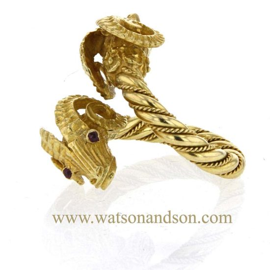18 Kt Yellow Gold Double Rams Head Ring 4