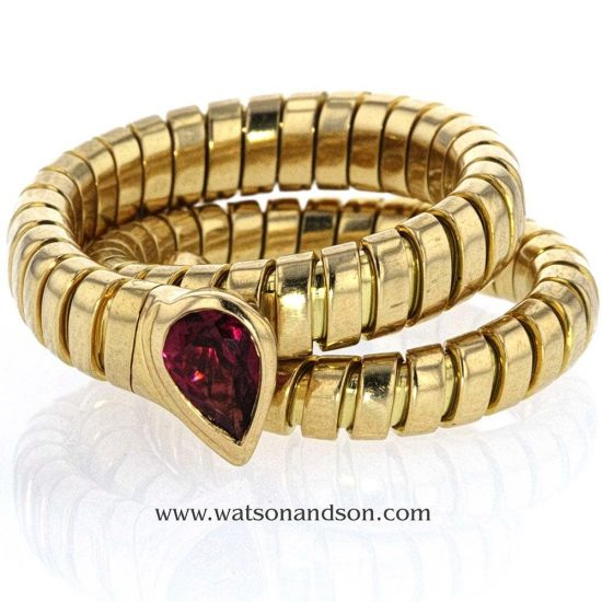 18 Kt Yellow Gold Bulgari Tubogas Snake Ring With Ruby Head 1