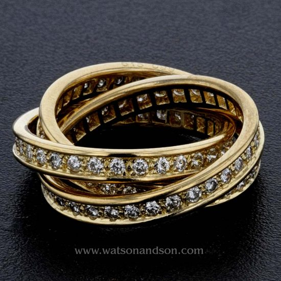 18 Kt Yellow Gold &Quot;Trinity De Cartier&Quot; Diamond Ring 1