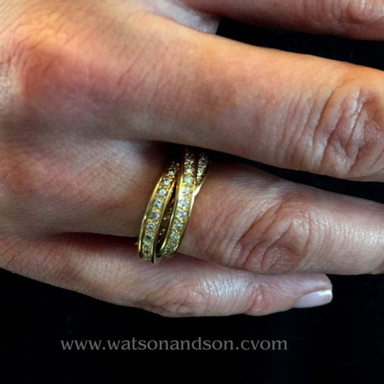 18 Kt Yellow Gold &Quot;Trinity De Cartier&Quot; Diamond Ring 3