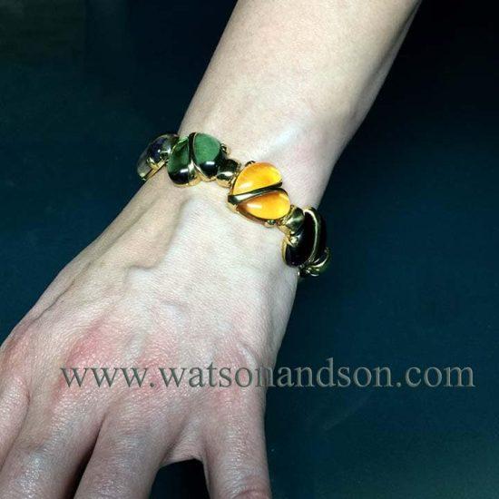 Cabochon Cut Gemstone Heart Bracelet 4