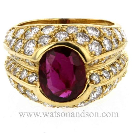 Ruby &Amp; Pave Diamond Dome Ring 3