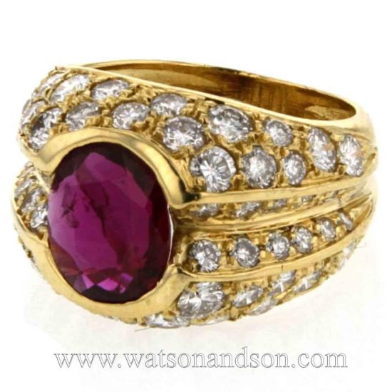 Ruby &Amp; Pave Diamond Dome Ring 1
