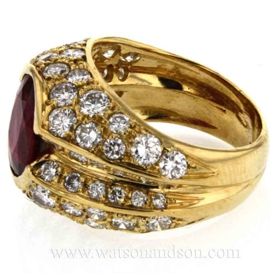 Ruby &Amp; Pave Diamond Dome Ring 4