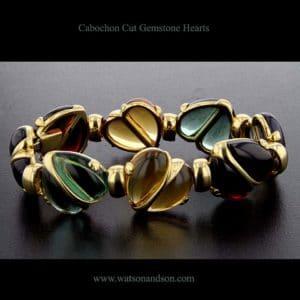 cabochon cut heart gemstones bracelet 3443