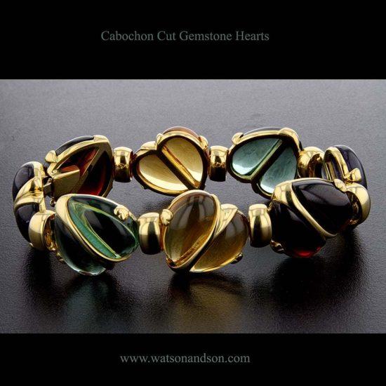 Cabochon Cut Gemstone Heart Bracelet 1