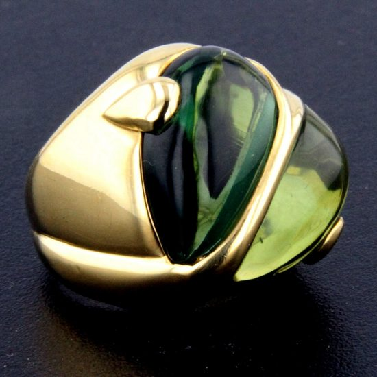 Cabochon Cut Green Tourmaline Heart Ring 3