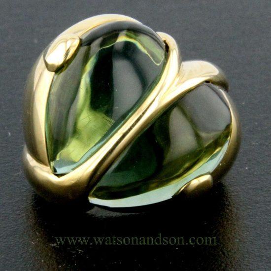 Cabochon Cut Green Tourmaline Heart Ring 1