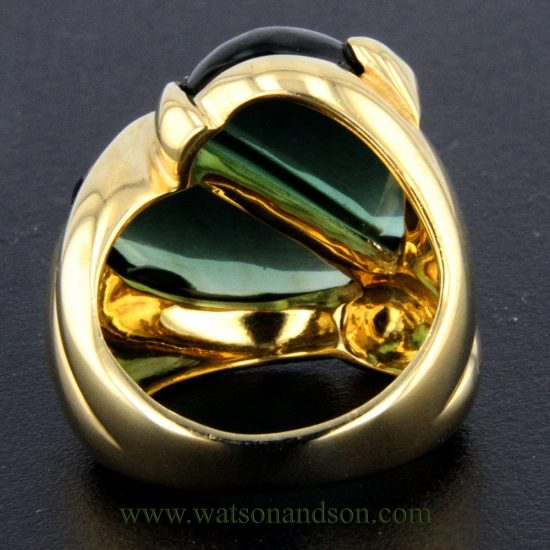 Cabochon Cut Green Tourmaline Heart Ring 4