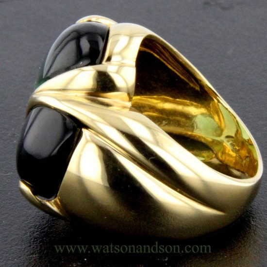Cabochon Cut Green Tourmaline Heart Ring 5