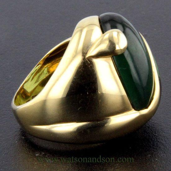 Cabochon Cut Green Tourmaline Heart Ring 6
