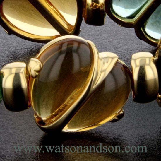 Cabochon Cut Gemstone Heart Bracelet 2