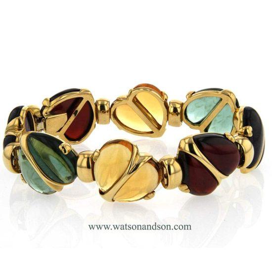 Cabochon Cut Gemstone Heart Bracelet 3