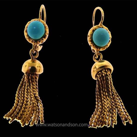 Turqouise Tassel Drop Earrings 1