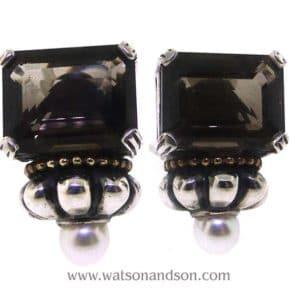 b smoky quartz lagos caviar earrings with pearl front V9118