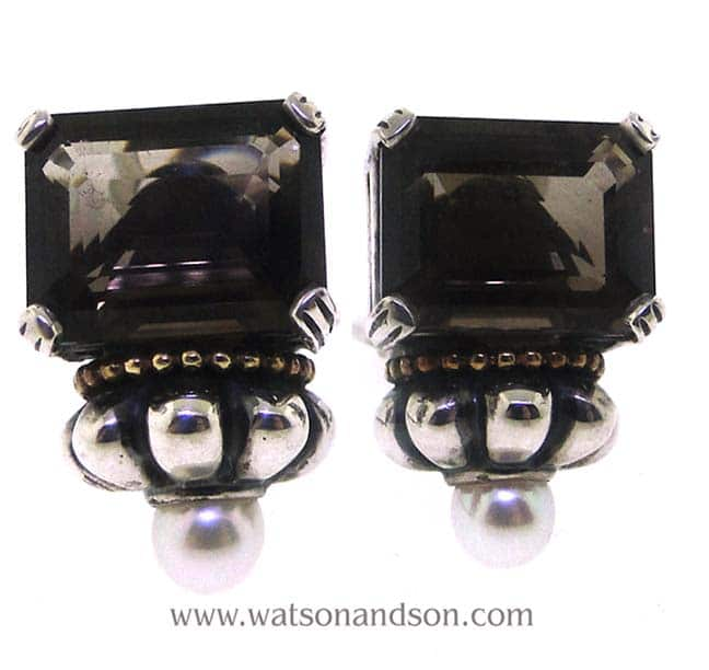 Lagos Smoky Quartz And Pearl Caviar Earrings