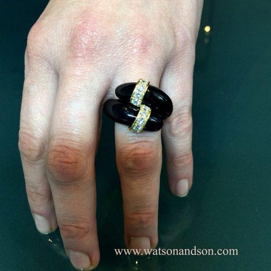 Tiffany Black Coral &Amp; Diamond Ring 3