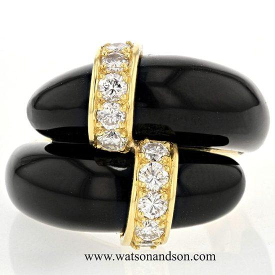 Tiffany Black Coral &Amp; Diamond Ring 6