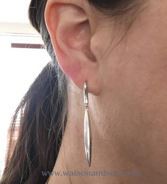 Tiffany &Amp; Co. 18K White Gold Feather Earrings 2