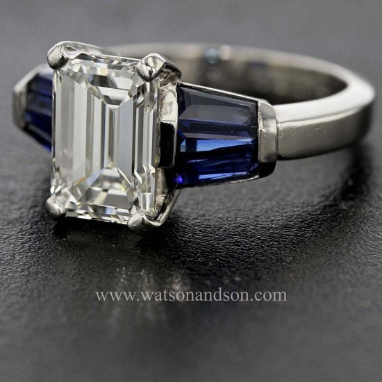 Emerald Cut Diamond Solitaire &Quot; Classic With A Twist&Quot; 3