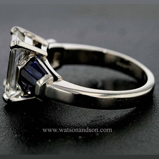 Emerald Cut Diamond Solitaire &Quot; Classic With A Twist&Quot; 2