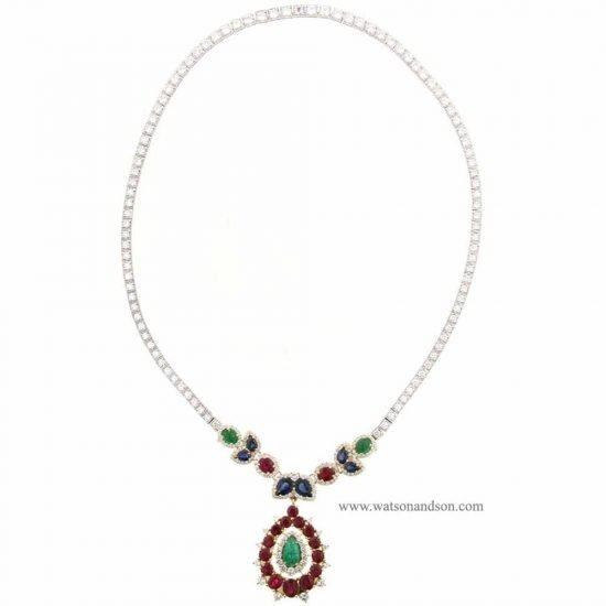 Custom Designed Colored Gemstone &Amp; Diamond Bib Necklace 2