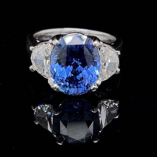 Ceylon Sapphire No Heat And Diamond Solitaire Ring 1