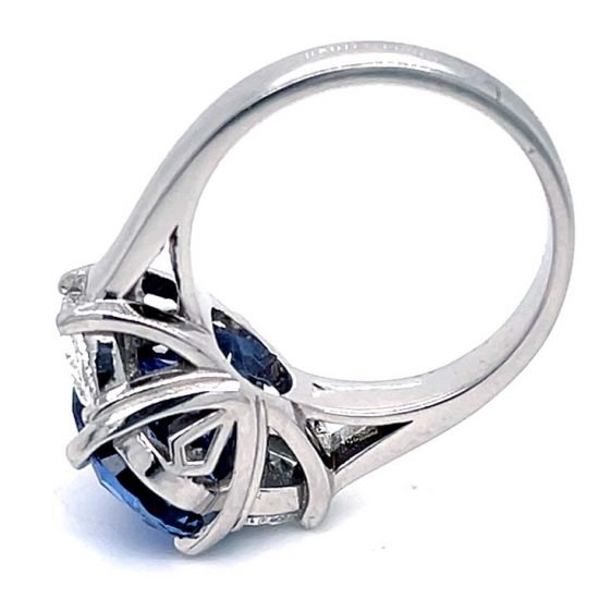 Ceylon Sapphire No Heat And Diamond Solitaire Ring 3