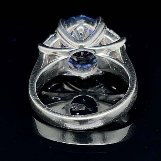 Ceylon Sapphire No Heat And Diamond Solitaire Ring 7