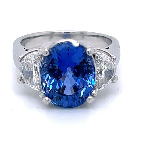 Ceylon Sapphire No Heat And Diamond Solitaire Ring 6