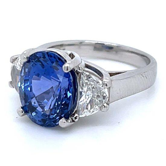Ceylon Sapphire No Heat And Diamond Solitaire Ring 5