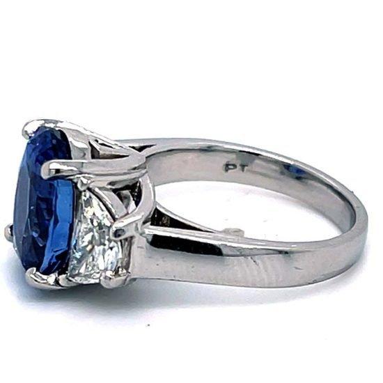 Ceylon Sapphire No Heat And Diamond Solitaire Ring 4
