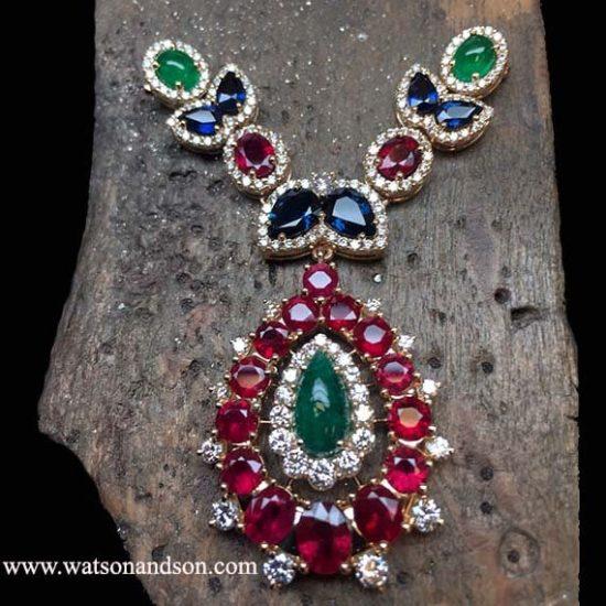 Custom Designed Colored Gemstone &Amp; Diamond Bib Necklace 3