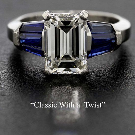 Emerald Cut Diamond Solitaire &Quot; Classic With A Twist&Quot; 1