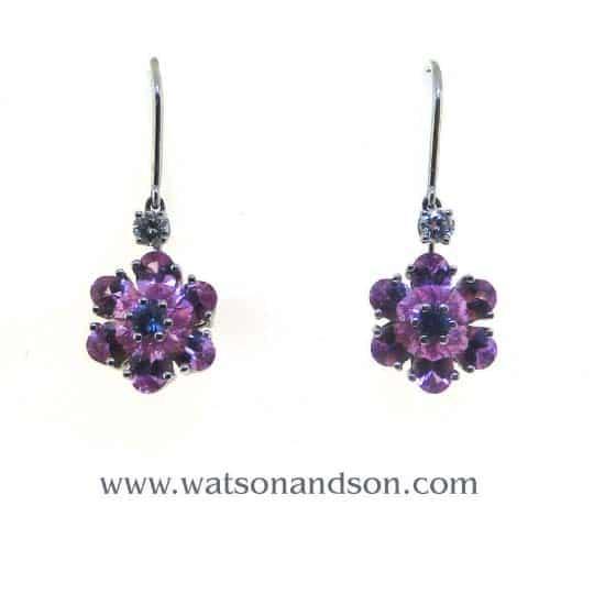 Tiffany &Amp; Co Sapphire Flower Earrings 1