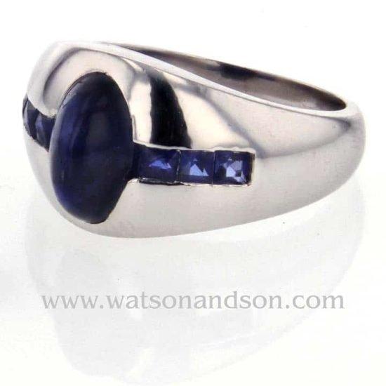 Platinum Cabochon Cut Sapphire Pinky Ring 1