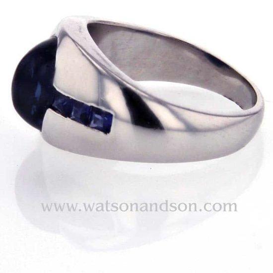 Platinum Cabochon Cut Sapphire Pinky Ring 3