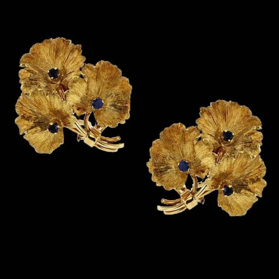 Tiffany &Amp; Co. Gold And Diamond Floral Ear Clips 1