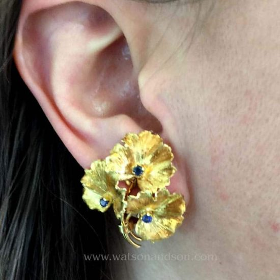 Tiffany &Amp; Co. Gold And Diamond Floral Ear Clips 2