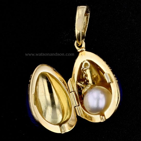 Yellow Gold Blue Guilloche Enameled Faberge Egg With Hidden Treasure 2