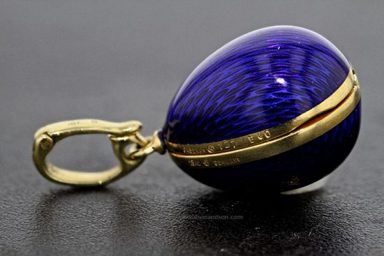 Yellow Gold Blue Guilloche Enameled Faberge Egg With Hidden Treasure 5
