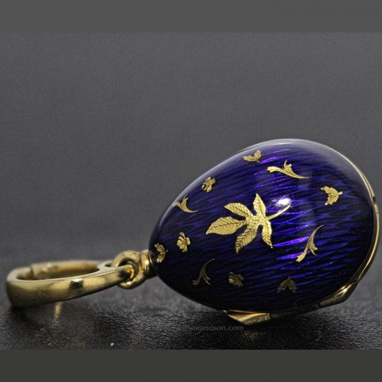 Yellow Gold Blue Guilloche Enameled Faberge Egg With Hidden Treasure 1