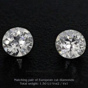 pair of European cut diamonds 3605