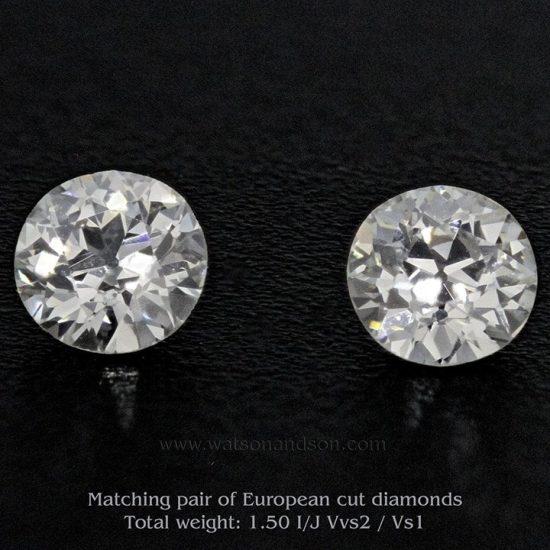 Matching Pair of Antique European Cut Diamonds 1