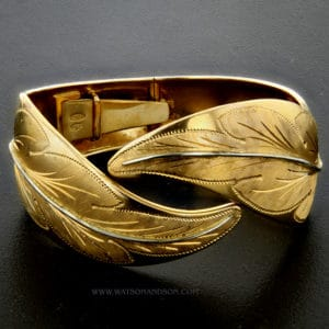 yellow and white gold leaf cuff v9641