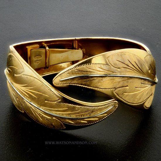 Yellow Gold Leaf Cuff 1