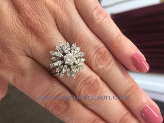 White Gold Diamond Cluster Ring 4